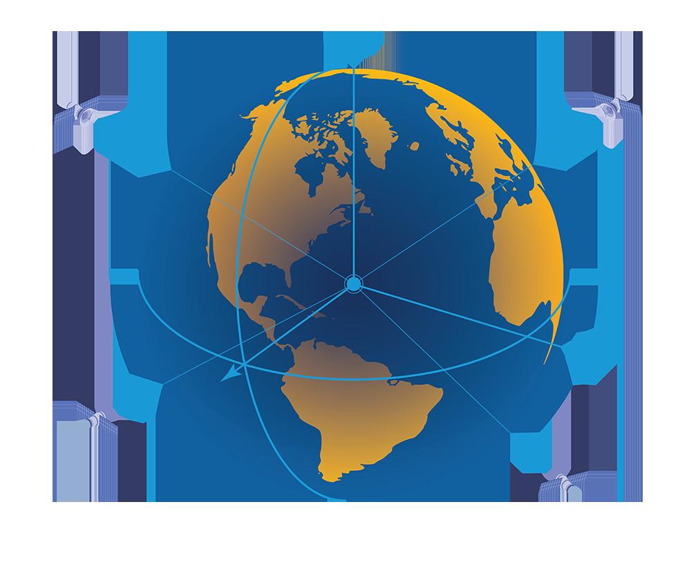 Illustration of the world globe with satellites