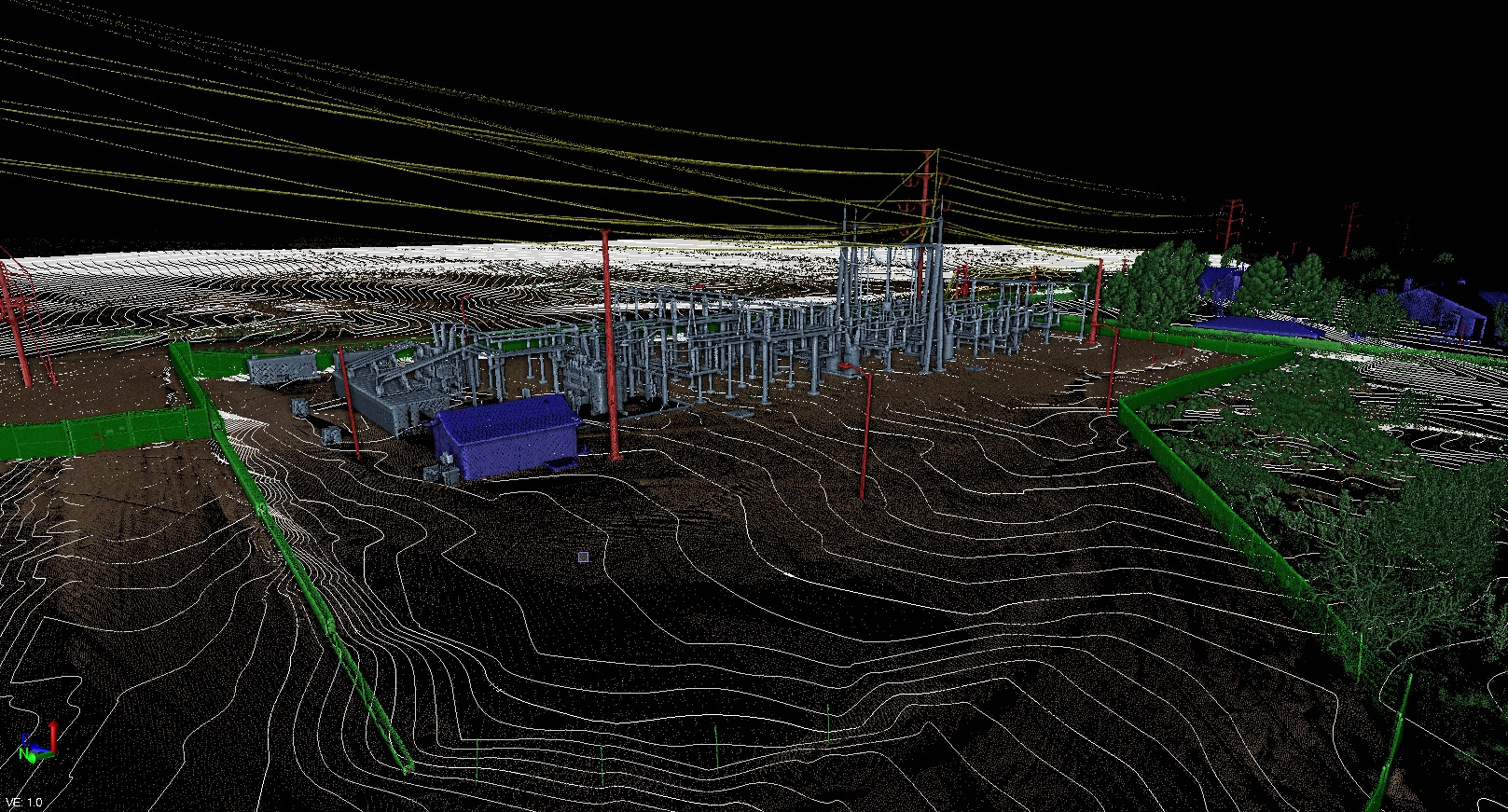 3D Site View with Contour Lines