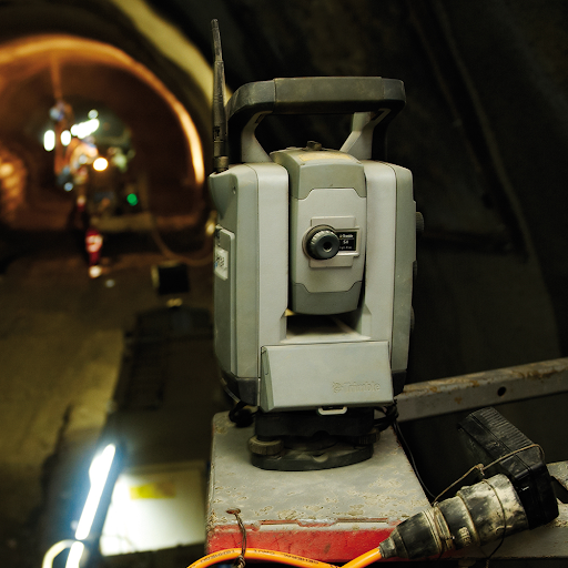 Total station mounted on wall